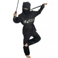 Fasching Kinder Kostüm Black Ninja 4 tlg. für Sie und Ihn Größe 140